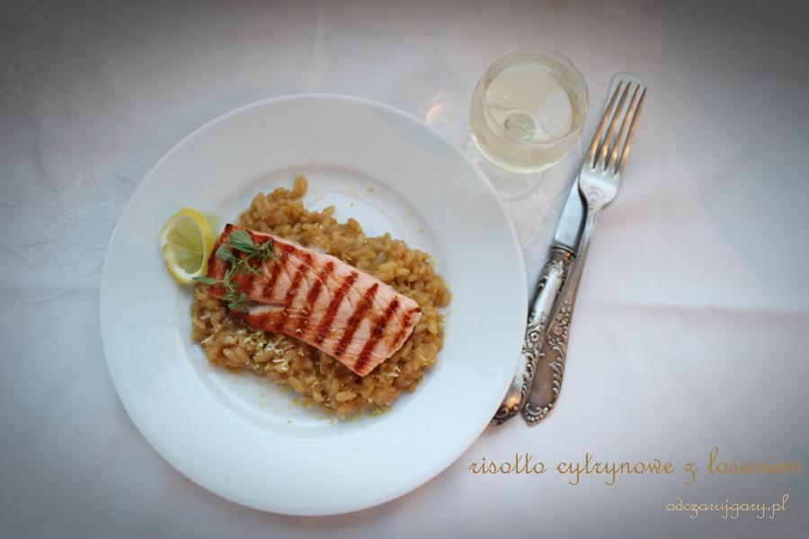 risotto cytrynowe z grillowanym łososiem