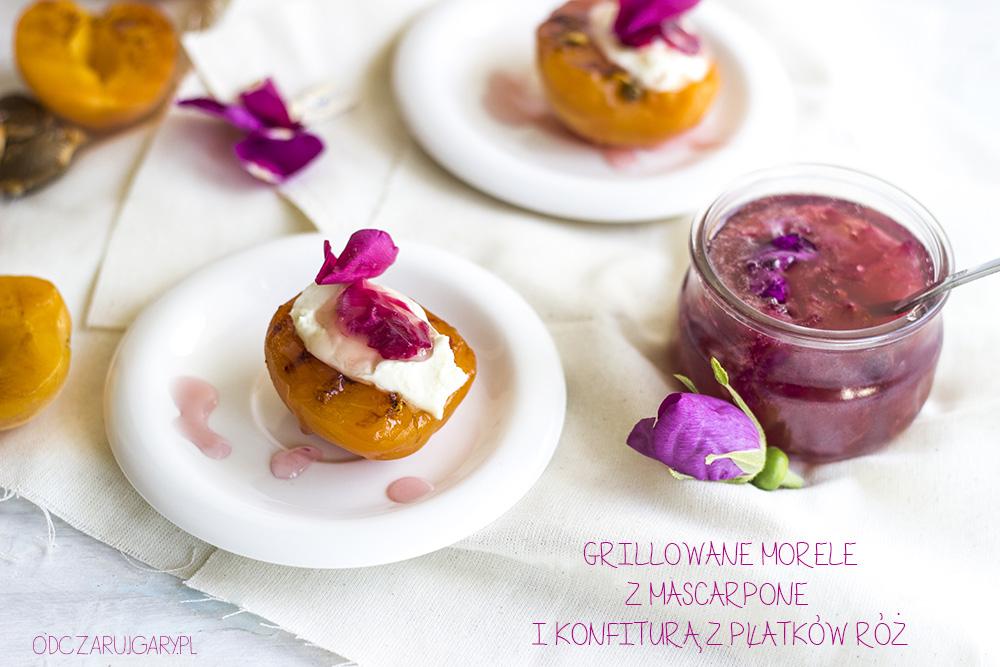 grillowane morele z mascarpone i różaną konfiturą