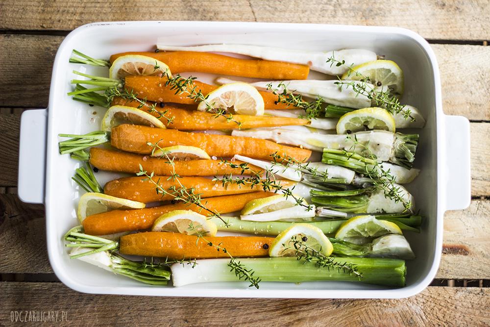 pieczone warzywa z cytryną i miodem